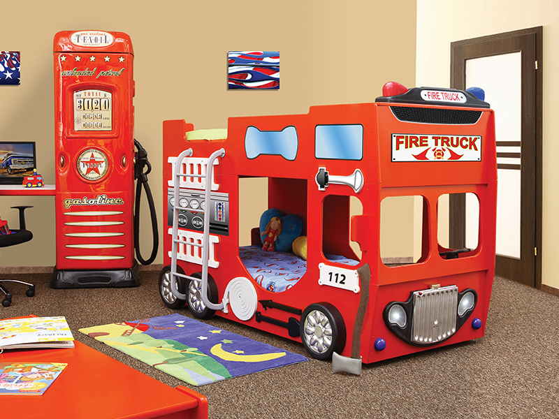 stapelbed fire truck kinder auto bed incl matras