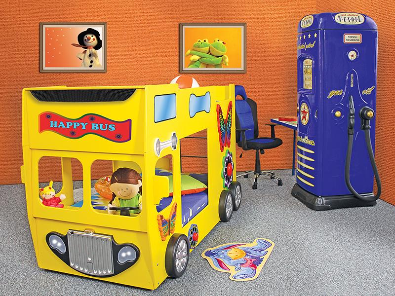 stapelbed happy bus kinder auto bed incl. matras