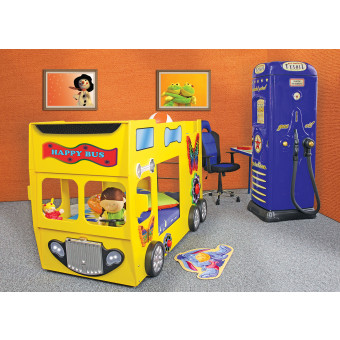 Stapelbed Happy Bus kinder auto bed