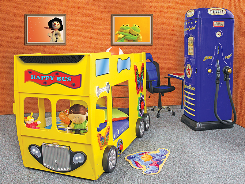 stapelbed happy bus kinder auto bed incl. matras